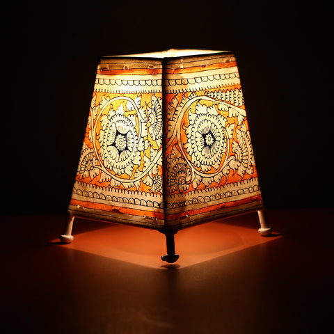 Andhra Pradesh Leather Lamp with Orange Coloured Floral Design