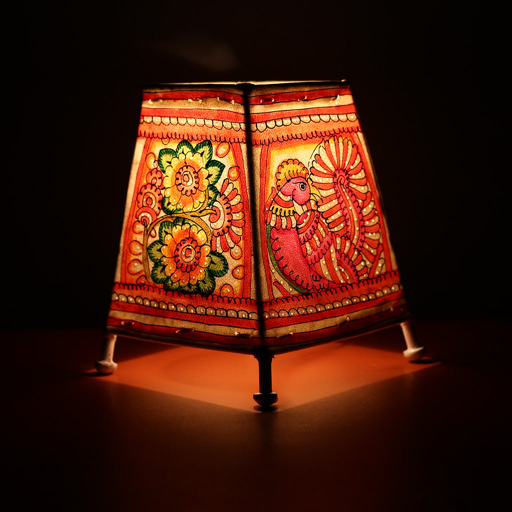 Andhra Pradesh Leather Lamp with Peacock Floral Design 4