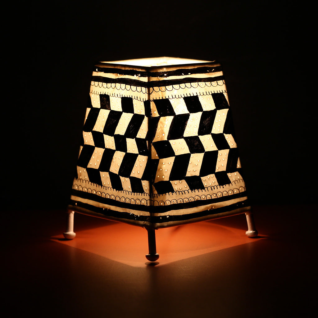 Andhra Pradesh Leather Lamp with Black Geometric Design