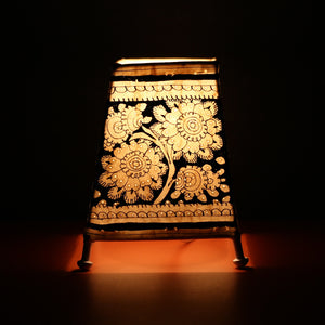Andhra Pradesh Leather Lamp with Black Flower Design 2