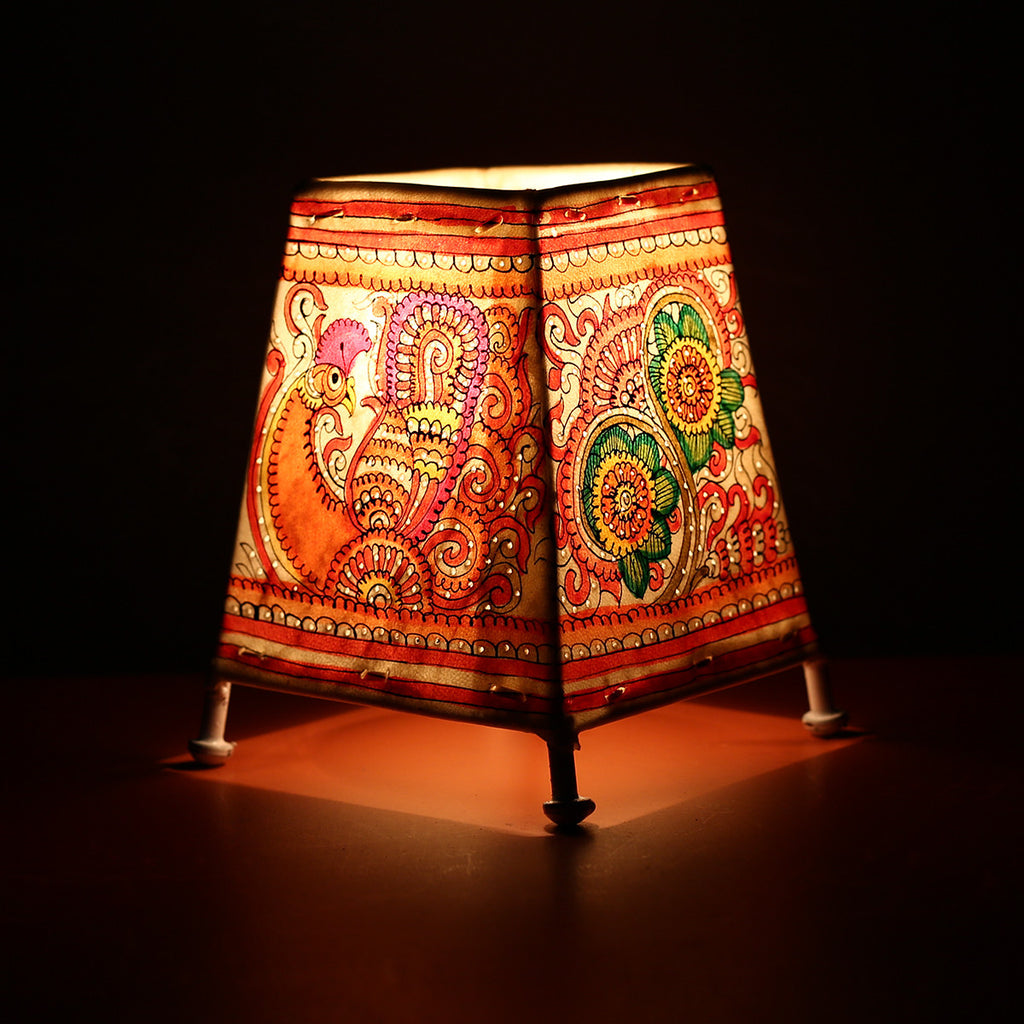 Andhra Pradesh Leather Lamp with Peacock Floral Design 1
