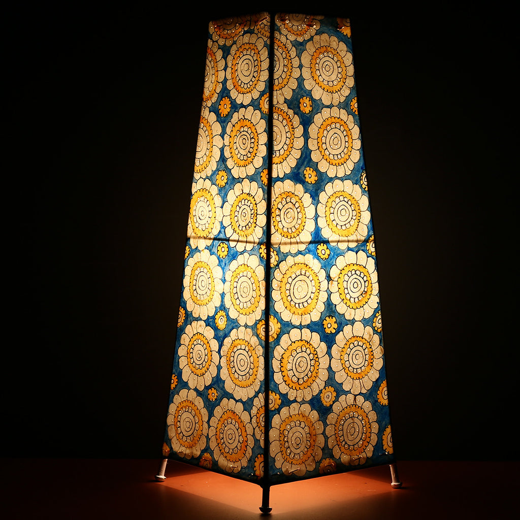 Big Andhra Pradesh Leather Lamp with yellow flower and blue background
