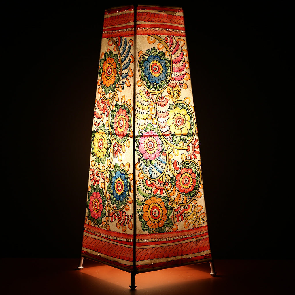 Big Andhra Pradesh Leather Lamp with Floral Design