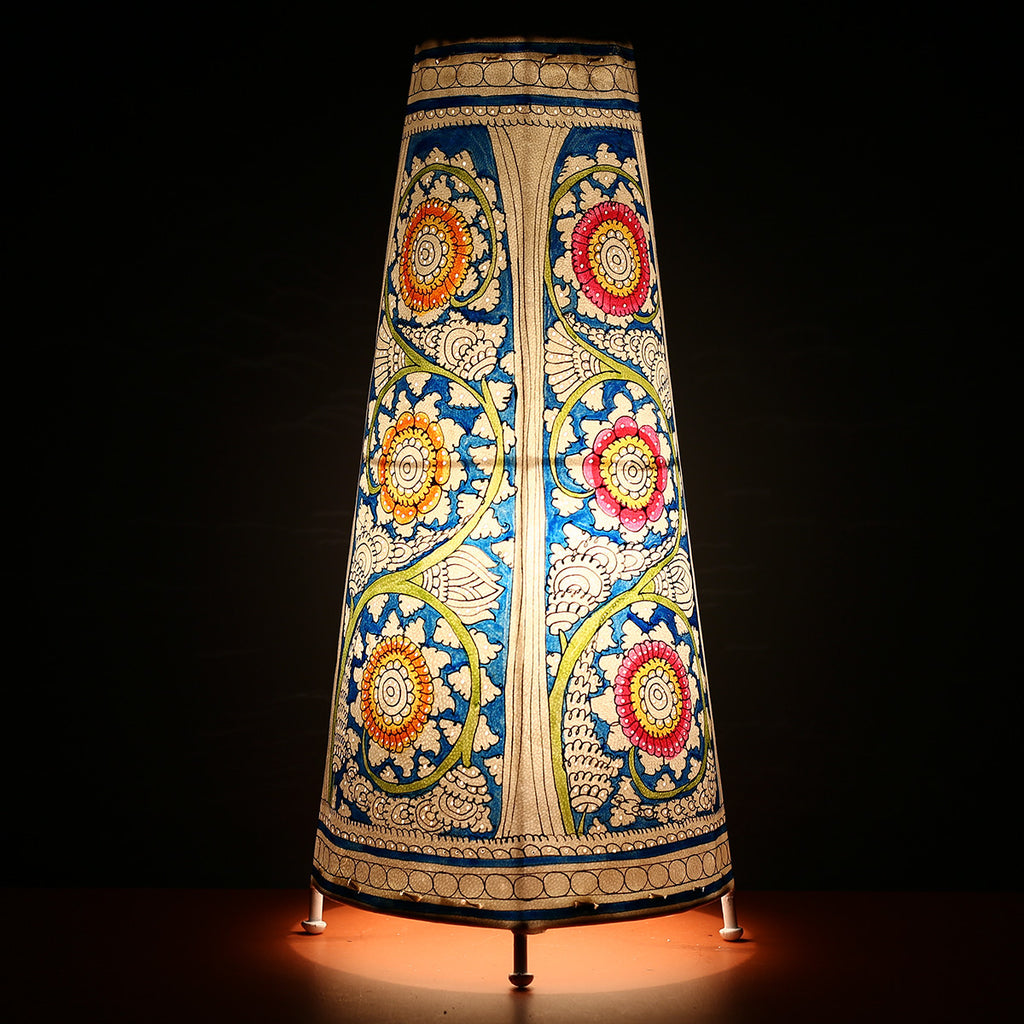 Big Andhra Pradesh Leather Lamp with Blue Floral Design