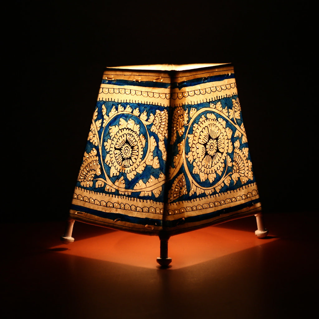 Andhra Pradesh Leather Lamp with Blue Flower Design