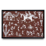 Tribal Warli Painting of a Village Life by Bhiku Zop