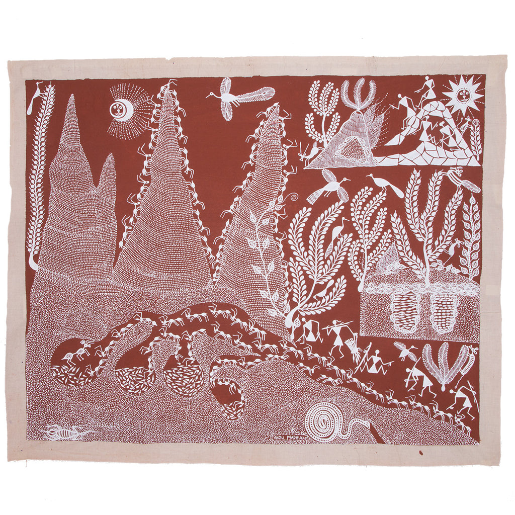 Tribal Warli Painting an Ant Hill by Madhukar Wadu