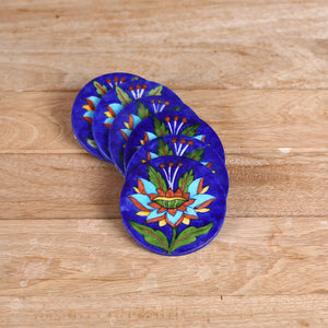 Jaipur Blue Pottery Coasters in Blue Floral Design