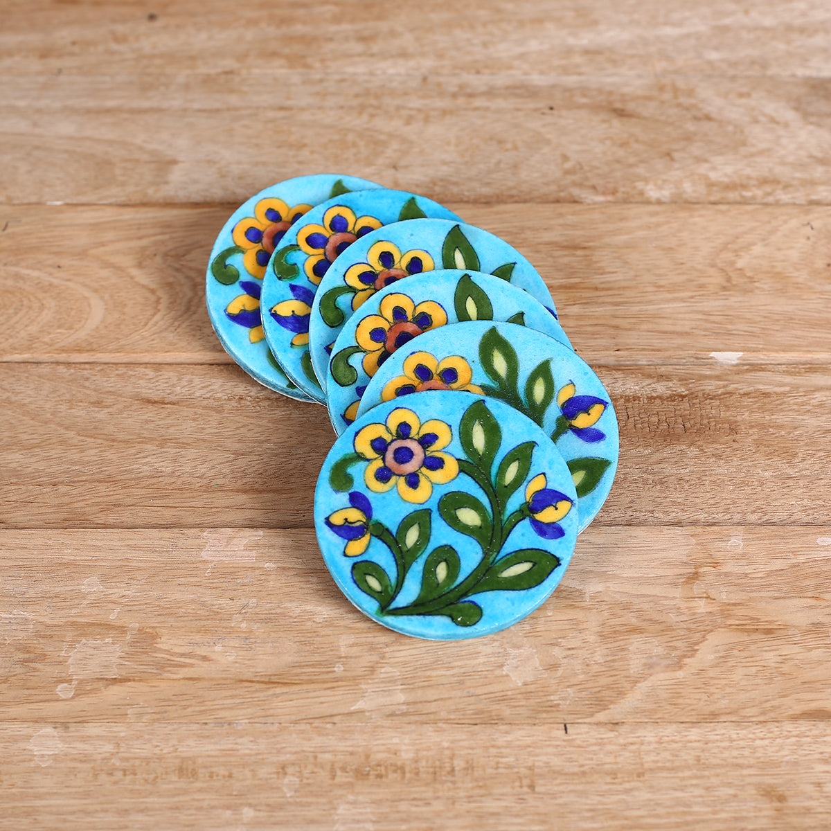 Jaipur Blue Pottery Coasters in Blue Yellow Floral Design