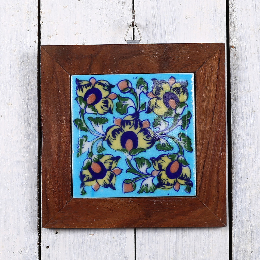 Jaipur Blue Pottery Wall Hanging in Blue Yellow Floral Design