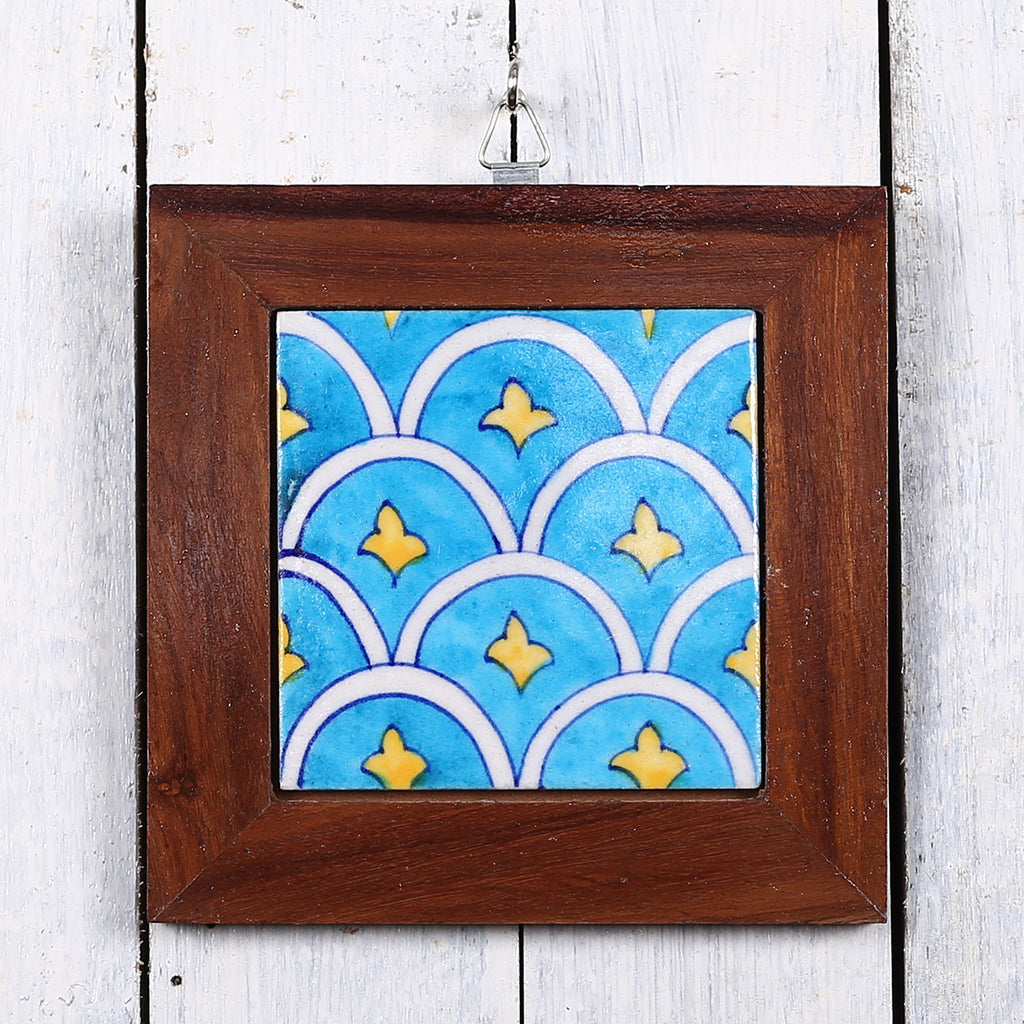 Jaipur Blue Pottery Wall Hanging in Blue Cloud Design
