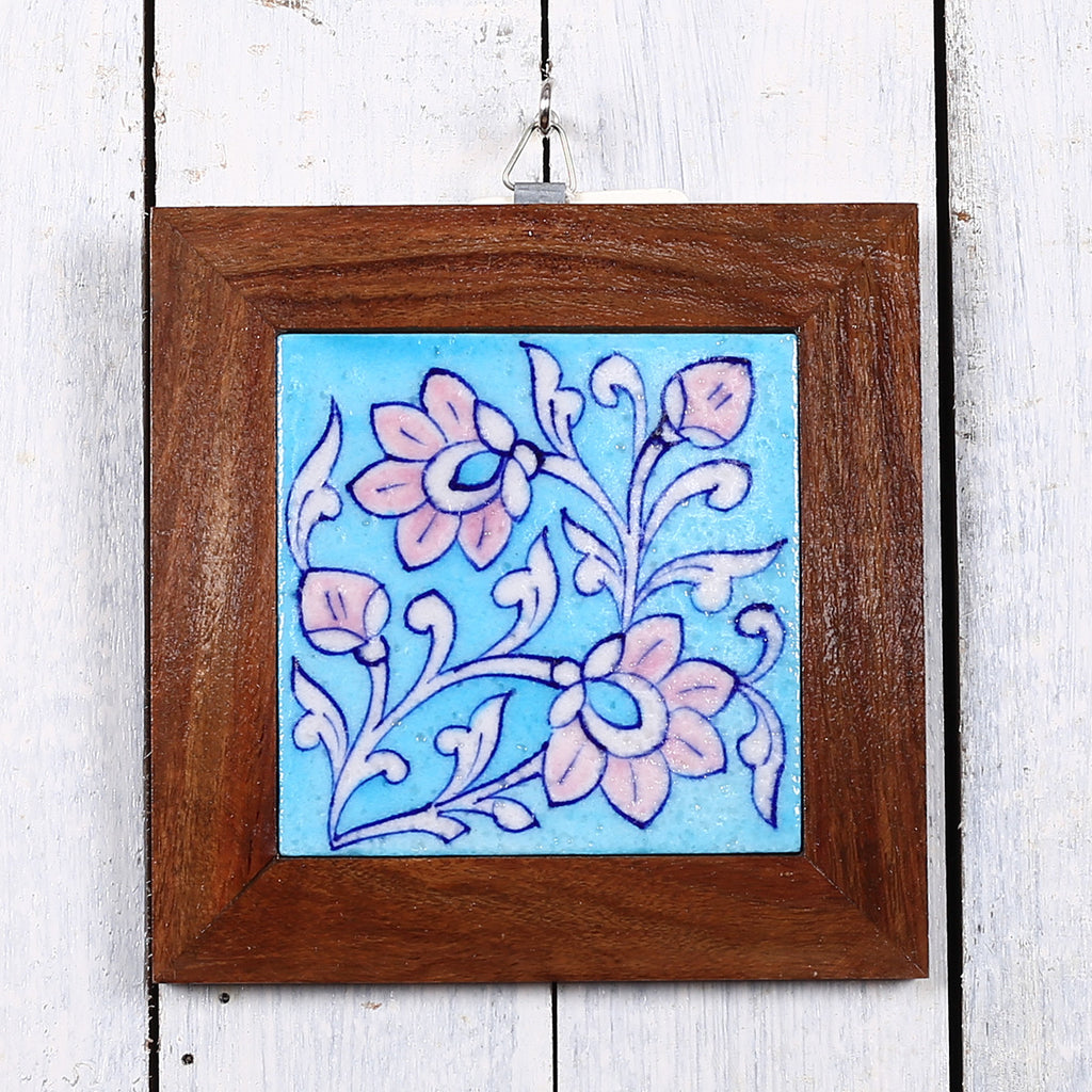 Jaipur Blue Pottery Wall Hanging in Blue Pink Floral Design