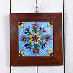 Jaipur Blue Pottery Wall Hanging in Blue Yellow Floral Design 1