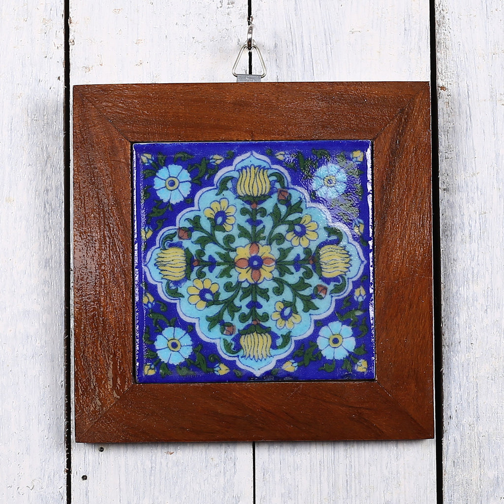 Jaipur Blue Pottery Wall Hanging in Blue Floral Design 1