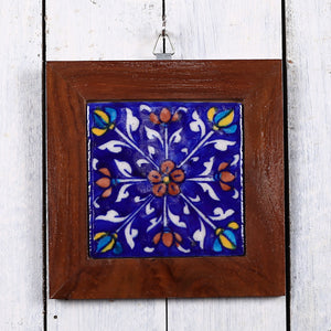 Jaipur Blue Pottery Wall Hanging in dark Blue Floral Design