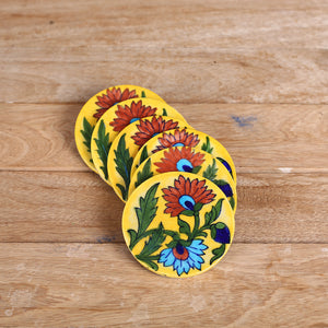 Jaipur Blue Pottery Coasters in Yellow Floral Design