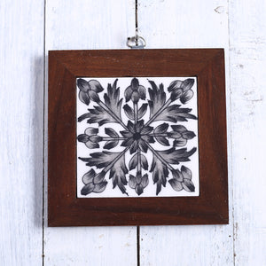 Jaipur Blue Pottery Wall Hanging in Black Floral Design