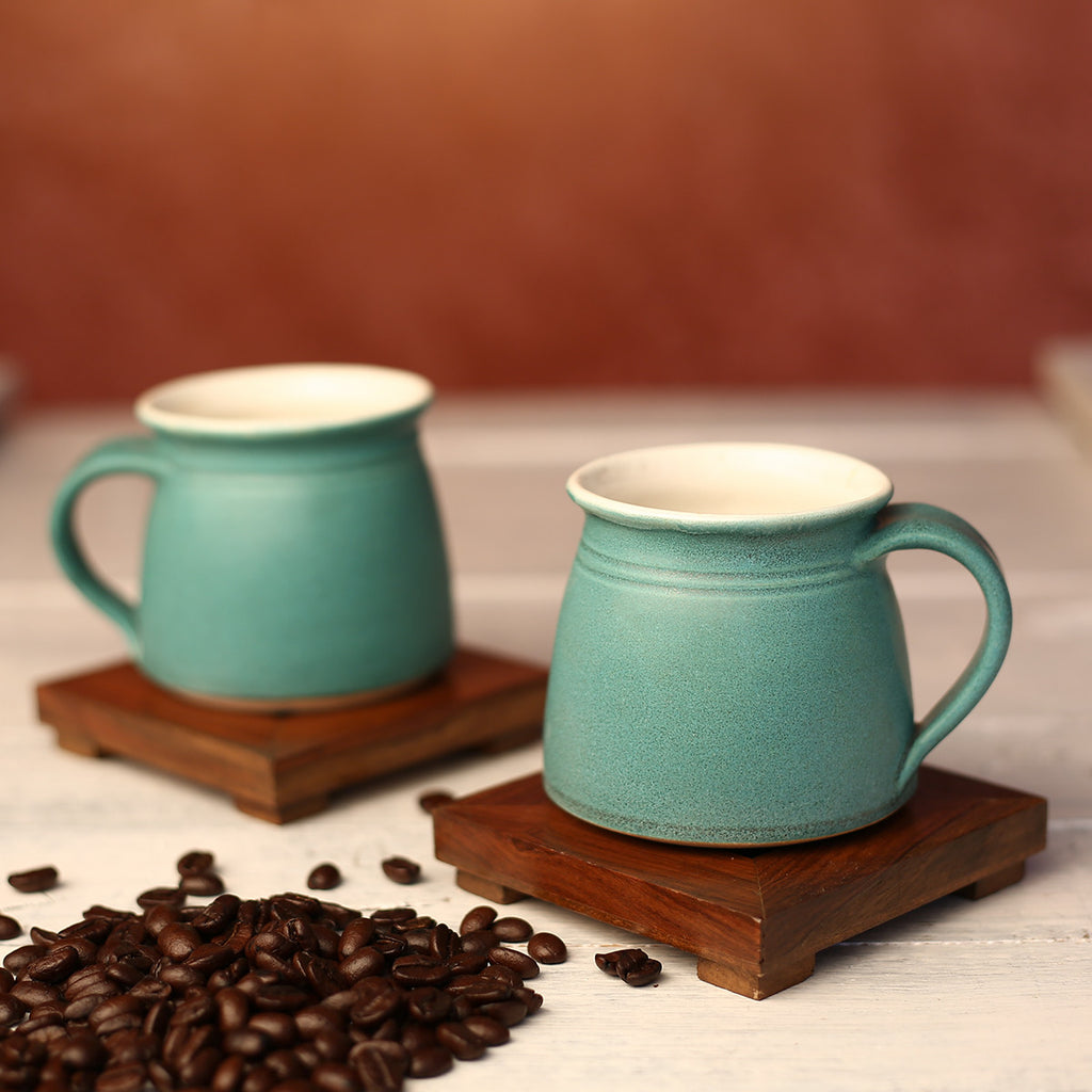 Turquoise Green Handmade Ceramic Cups from Auroville - Set of 2