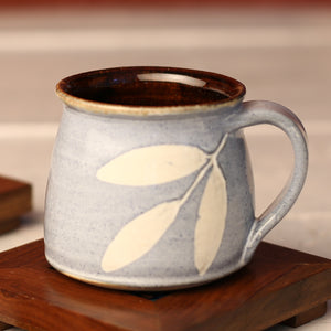 Blue Leaf Handmade Ceramic Cups from Pondicherry - Set of 2