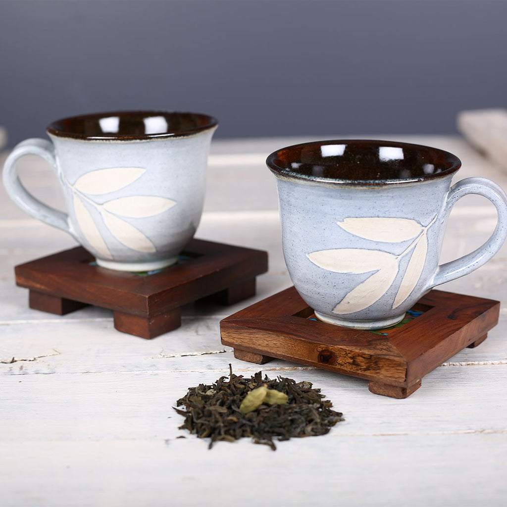 Blue Big Leaf Handmade Ceramic Cups from Pondicherry - Set of 2