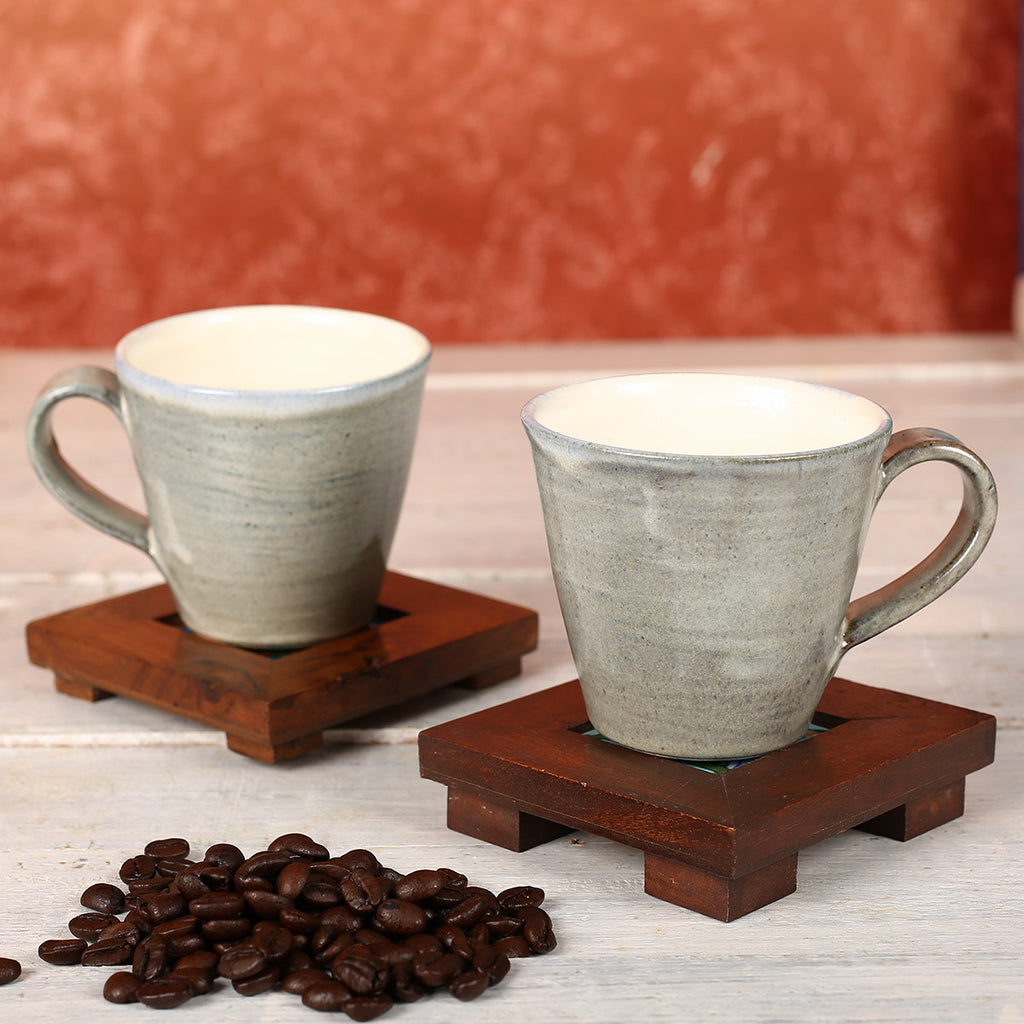 V Shaped Grey Handmade Ceramic Cups from Auroville - Set of 2