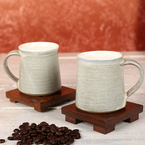 Big Grey Handmade Ceramic Cups from Auroville - Set of 2