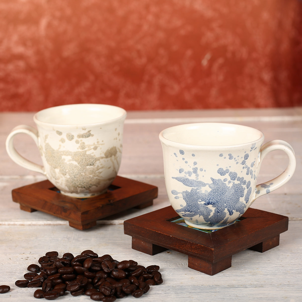 Abstract Off White with Blue Brown Handmade Ceramic Cups from Pondicherry - Set of 2