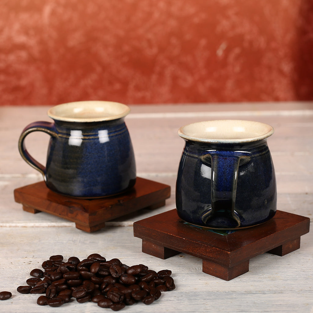 Denim Blue Handmade Ceramic Cups from Auroville - Set of 2