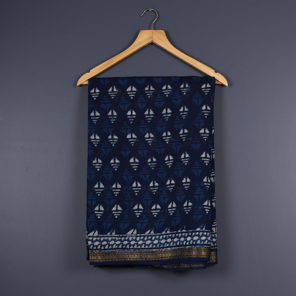 Dabu Hand Block Printed Indigo Chanderi Cotton Silk Saree 2