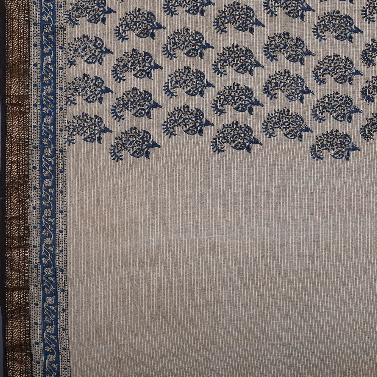 Bagru Hand Block Printed Naturally Dyed Chanderi Cotton Silk Saree 6