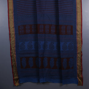 Bagh Hand Block Printed Naturally Dyed Golden Border Cotton Saree with Blouse 5
