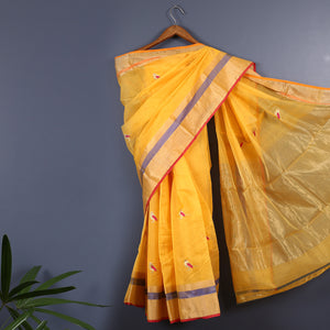 Chanderi Handloom Saree with Blouse in Silk Cotton 12