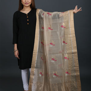 Chanderi Handloom Dupatta with Sparrow Motif