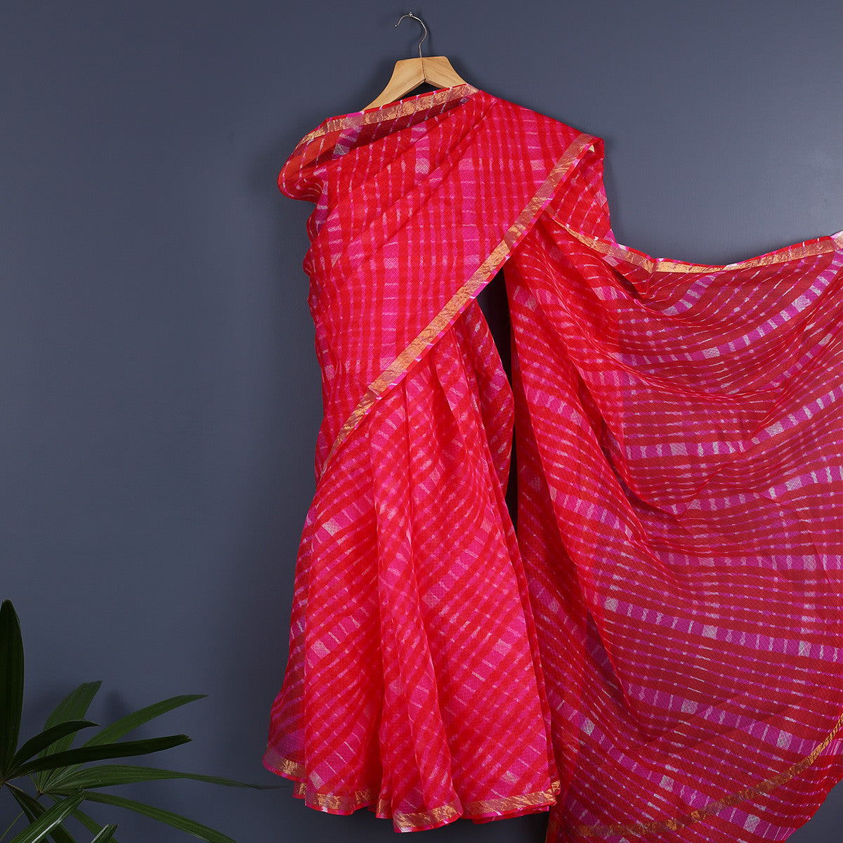 Jaipur Leheriya Tie and Dye Saree in Kota Silk 1