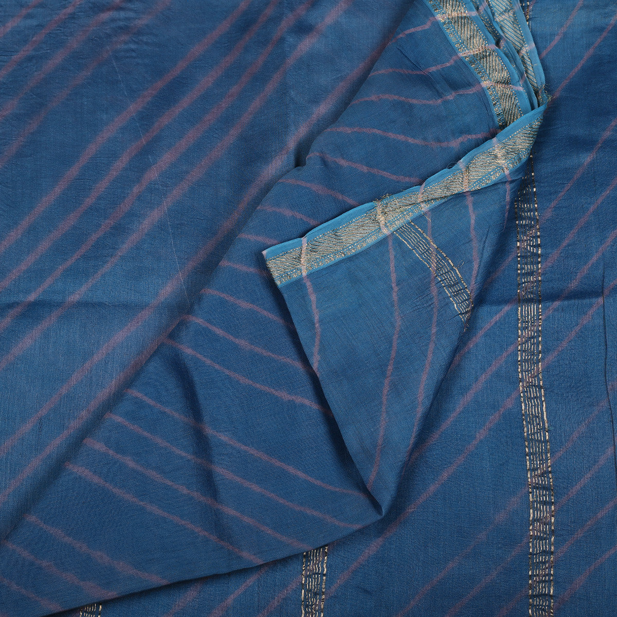 Jaipur Leheriya Tie and Dye Saree in Maheshwari Cotton Silk 1