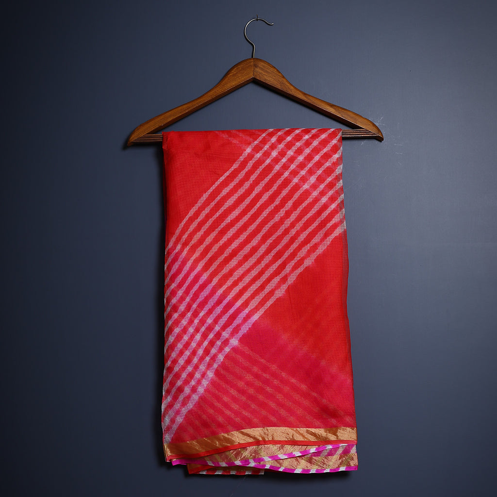 Jaipur Leheriya Tie and Dye Saree in Kota Silk 4