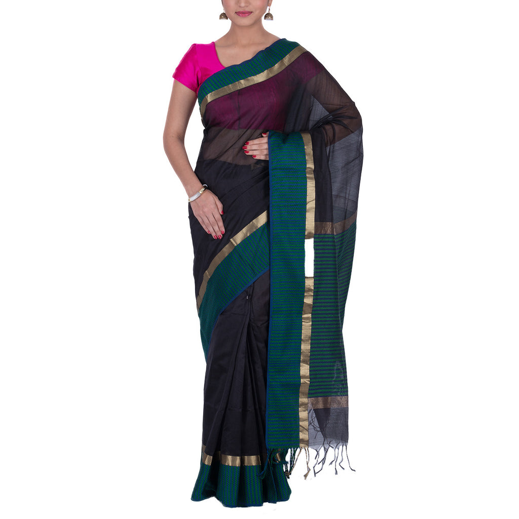 Maheshwari Handloom Cotton Silk Saree with Blouse 13