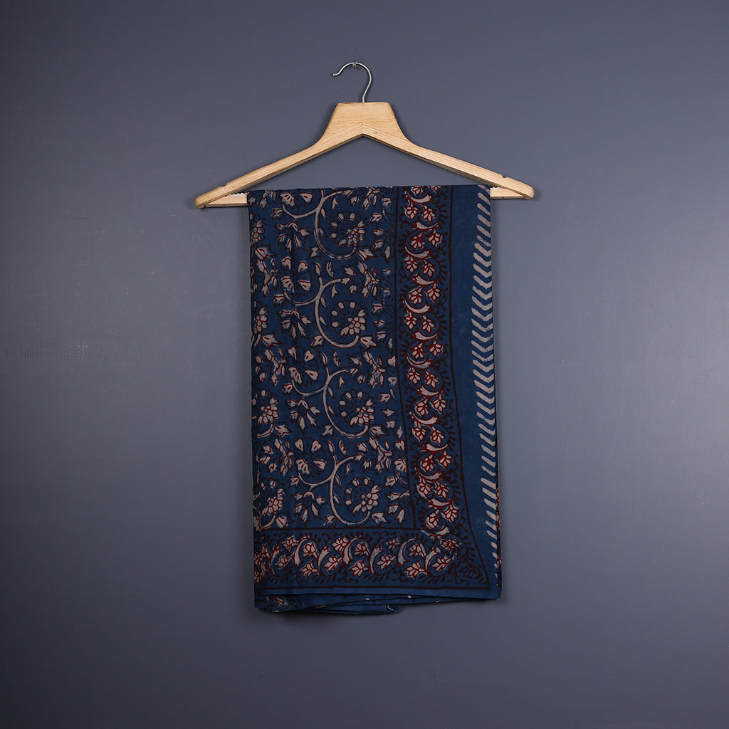 Tarapur Hand Block Printed Indigo Cotton Saree with Blouse 3