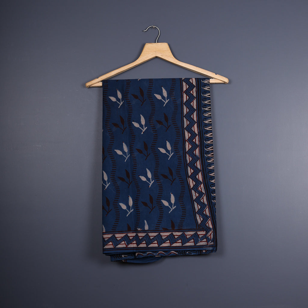 Tarapur Hand Block Printed Indigo Cotton Saree with Blouse 4
