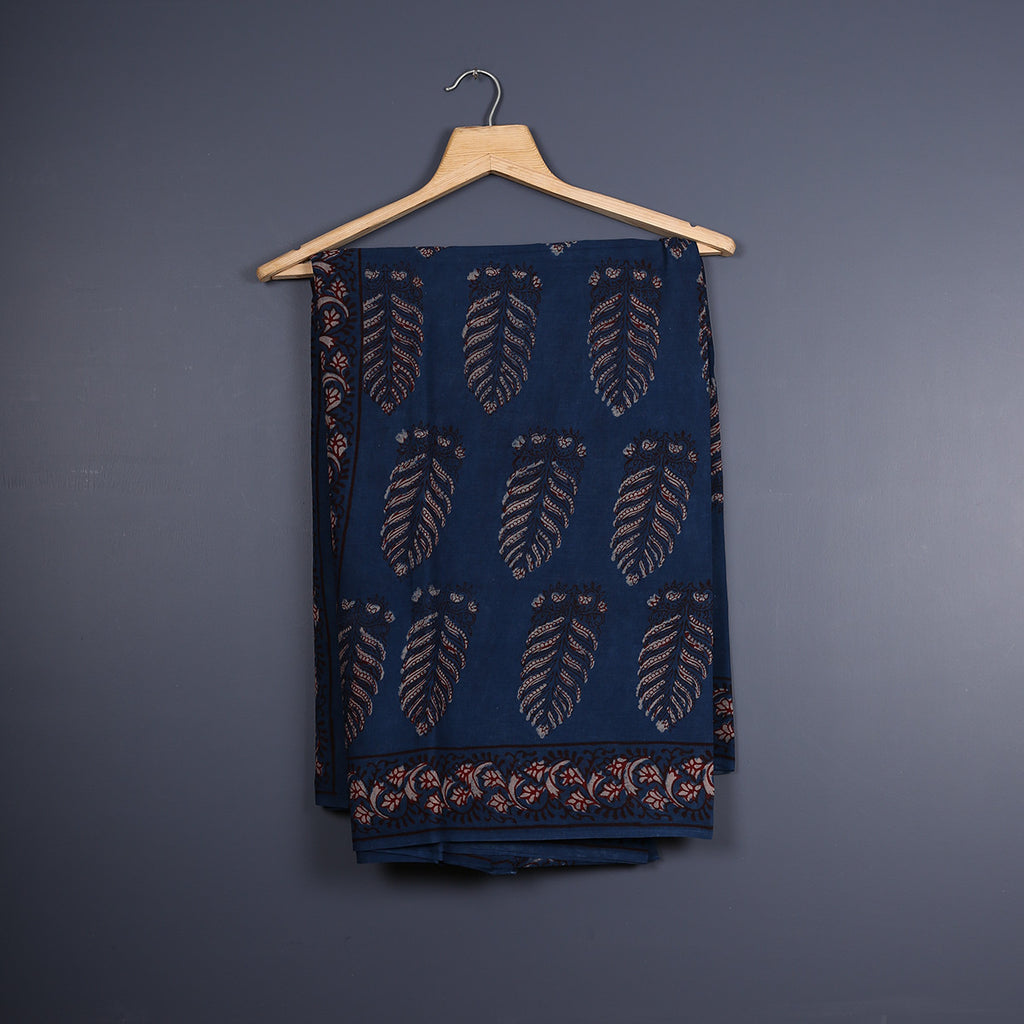 Tarapur Hand Block Printed Indigo Cotton Saree with Blouse 1
