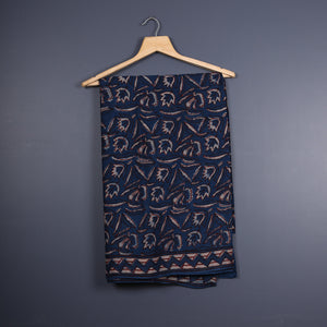 Tarapur Hand Block Printed Indigo Cotton Saree with Blouse 2