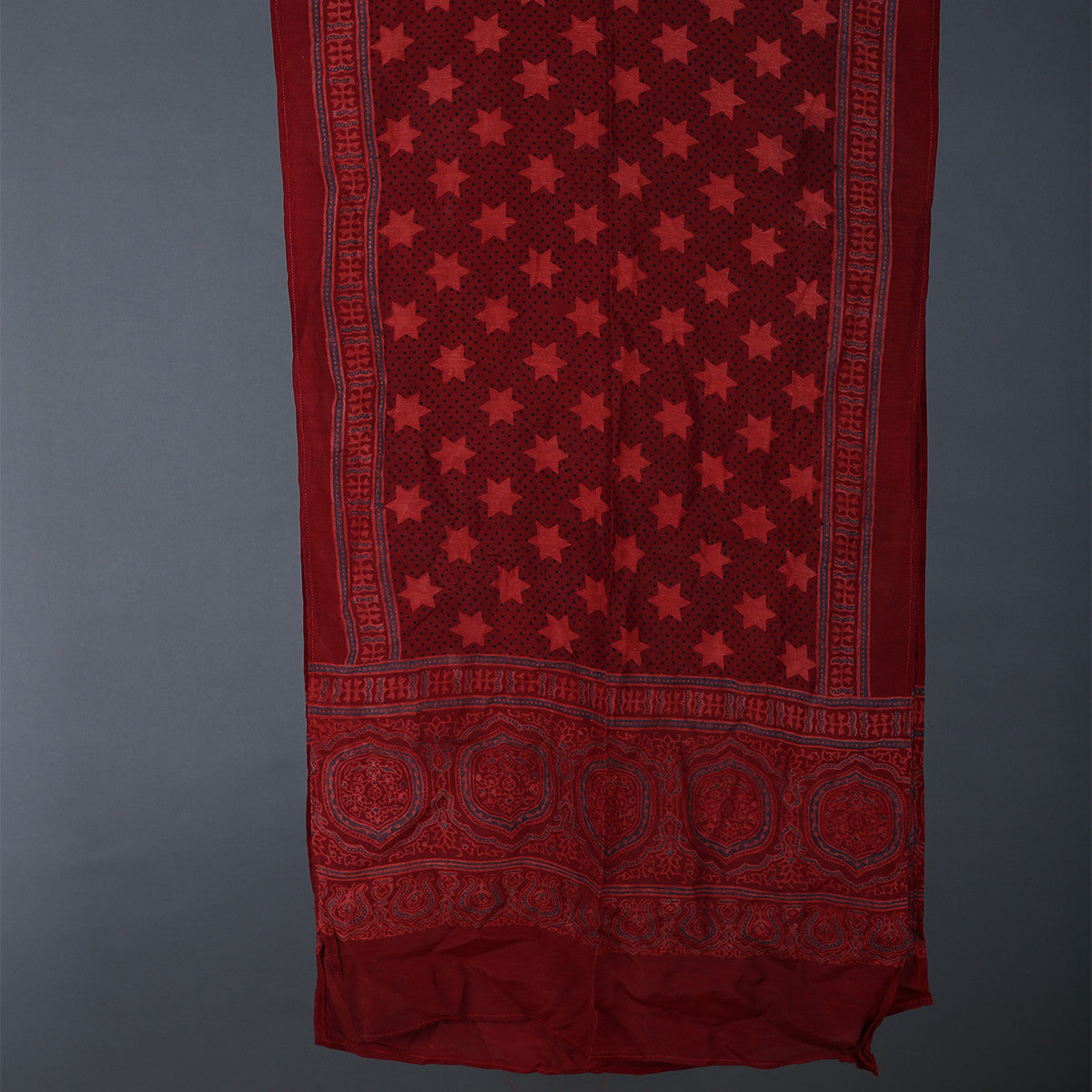Ajrakh Hand Blockprinted Stole in Modal with plain star design
