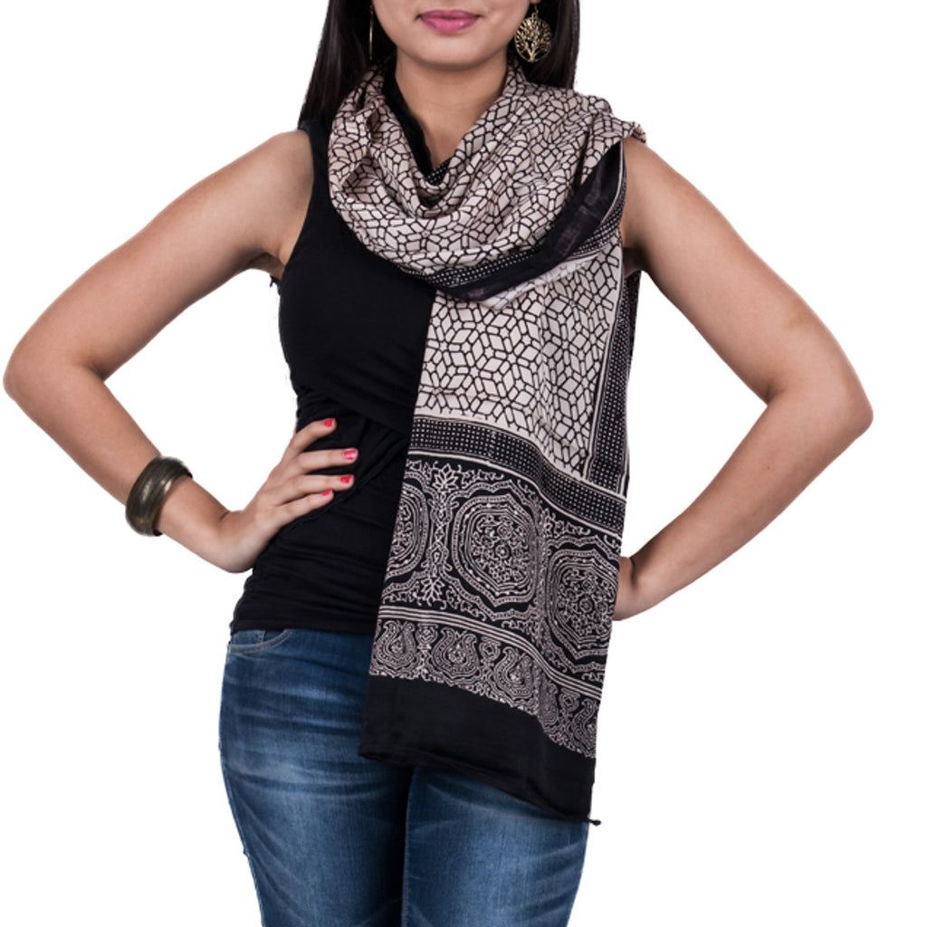 Black Coloured Ajrakh Hand Blockprinted Stole in Modal with link design