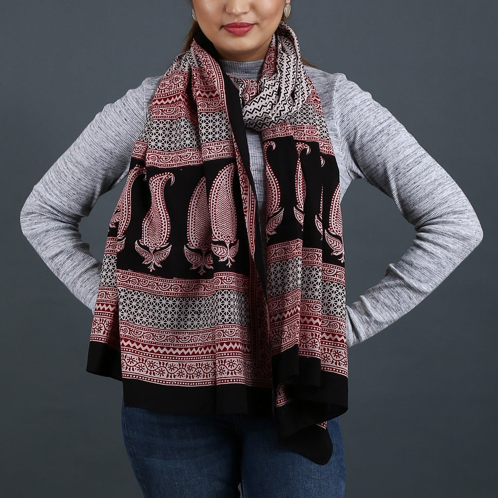 Bagh Hand Block Printed Stole in Cotton 1