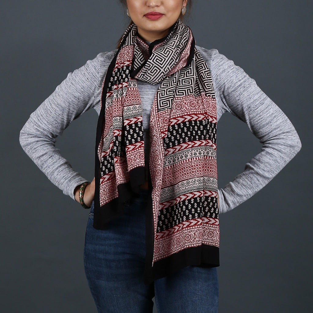 Bagh Hand Block Printed Stole in Cotton 4