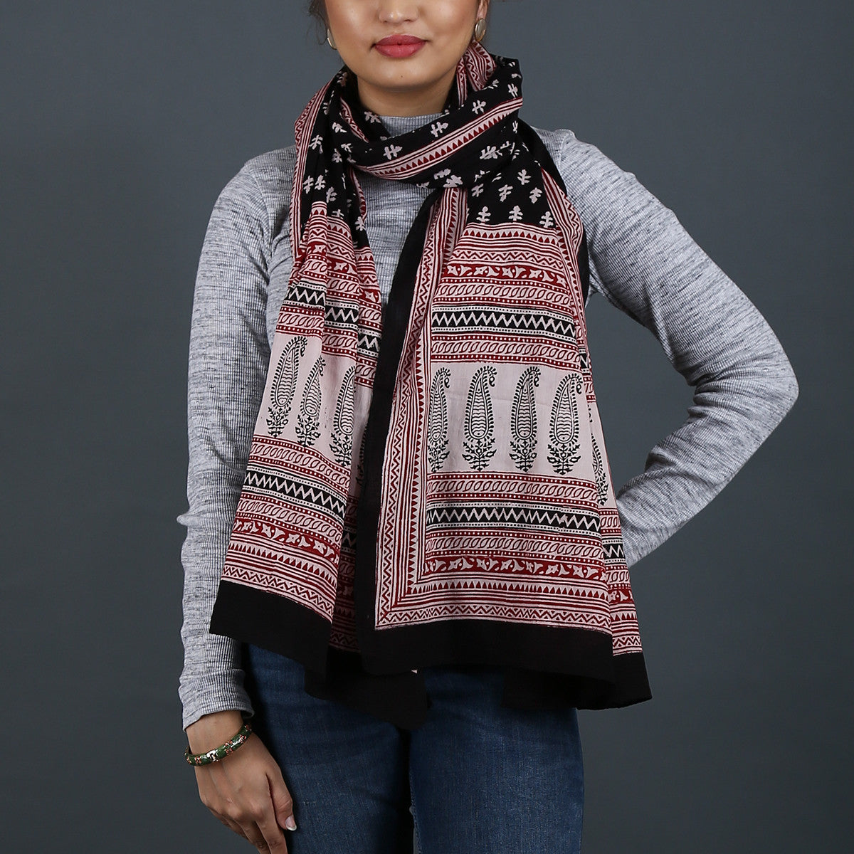 Bagh Hand Block Printed Stole in Cotton 6