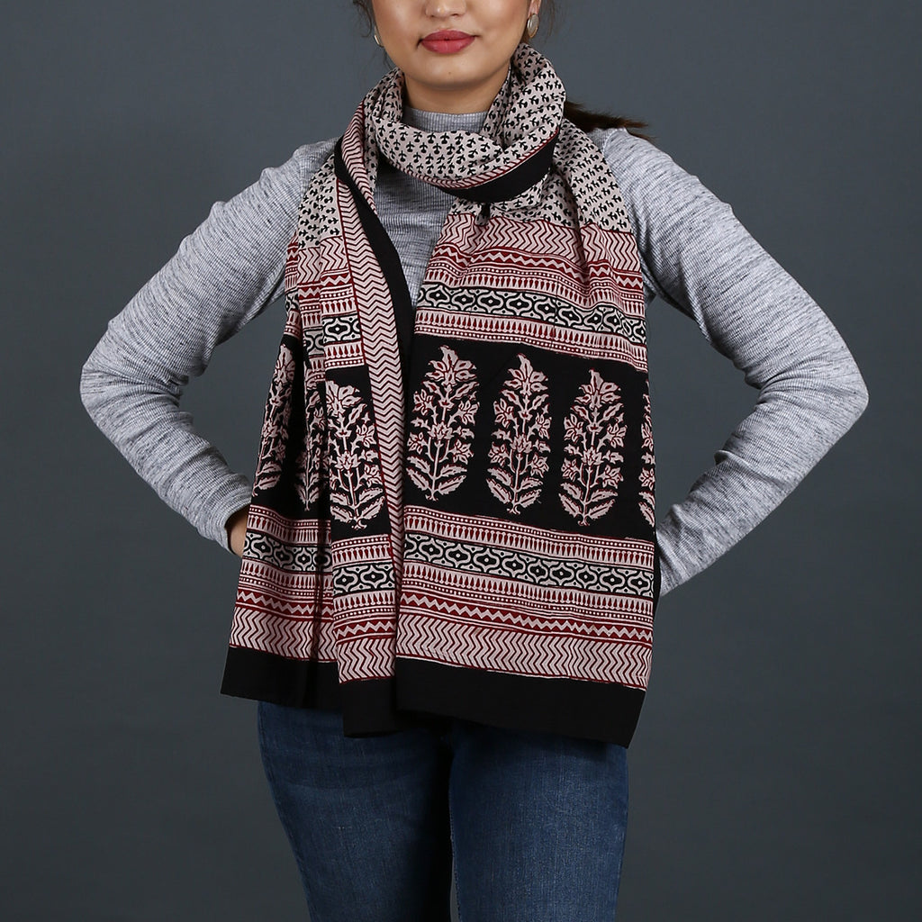 Bagh Hand Block Printed Stole in Cotton 7