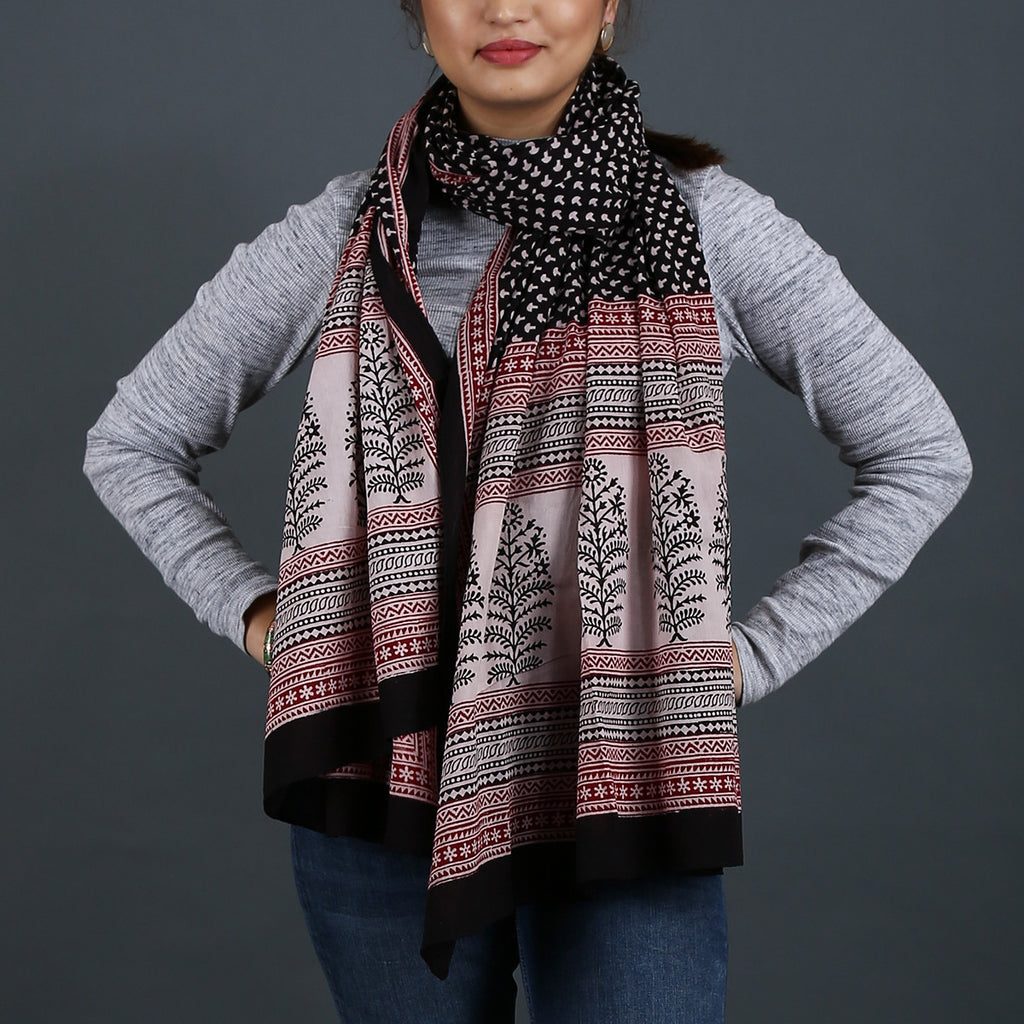 Bagh Hand Block Printed Stole in Cotton 8