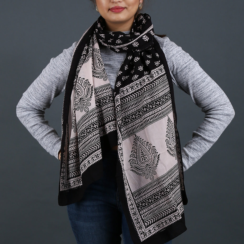 Bagh Hand Block Printed Stole in Cotton 10
