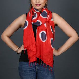Kutch Tie & Dye Stole in Tussar Silk with Clamp Dye 3